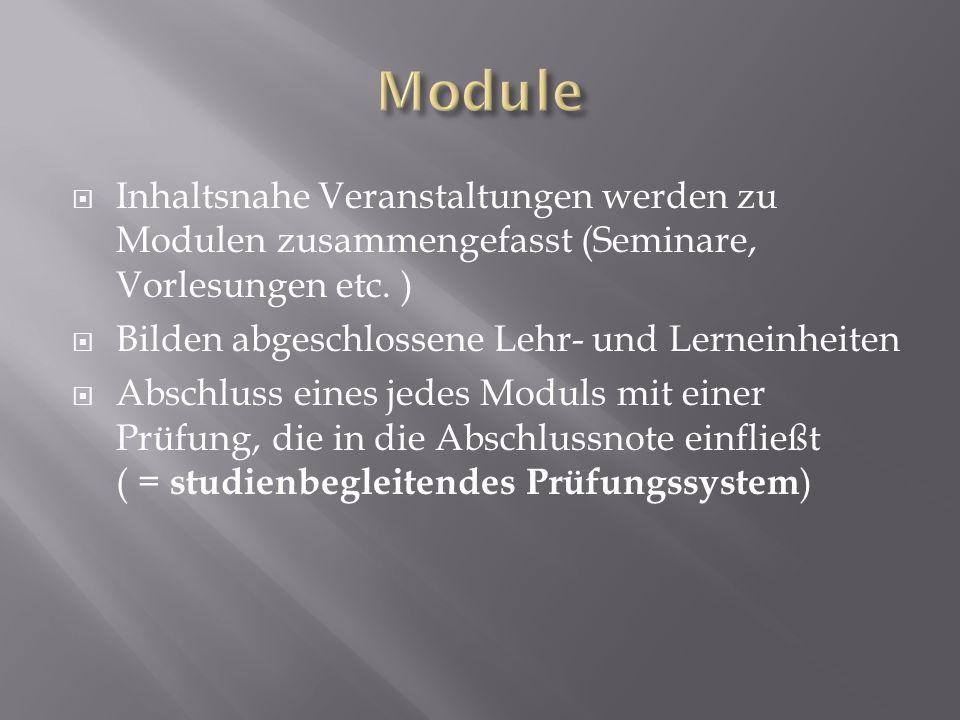 Module Inhaltsnahe Veranstaltungen werden zu Modulen zusammengefasst (Seminare, Vorlesungen etc. ) Bilden abgeschlossene Lehr- und Lerneinheiten.