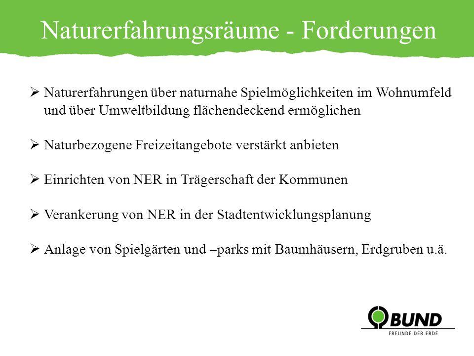 Naturerfahrungsräume - Forderungen