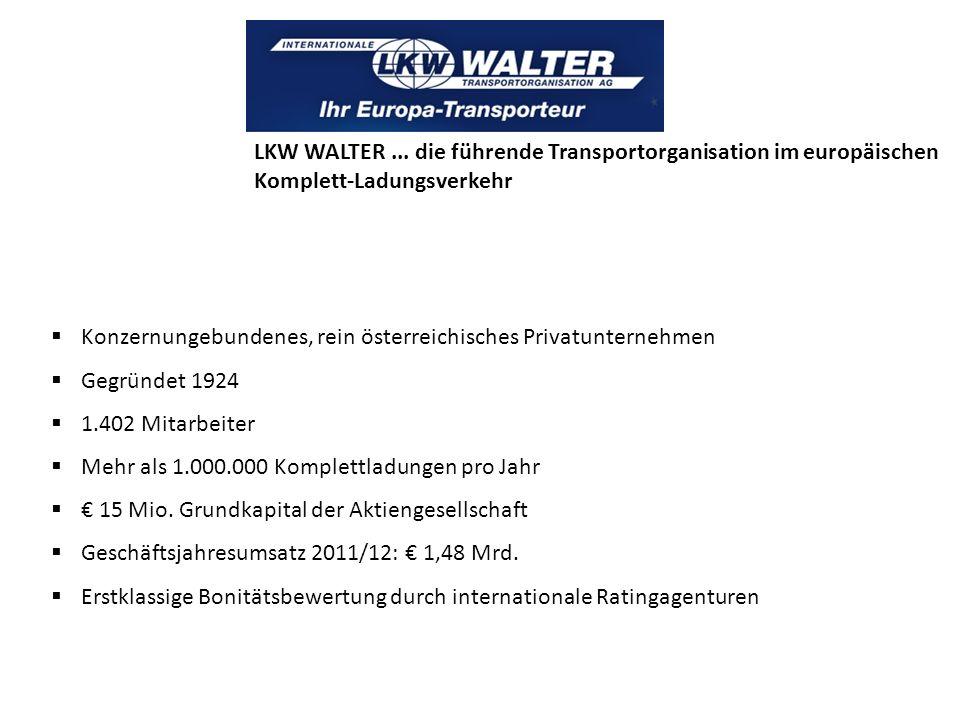 LKW WALTER ... die führende Transportorganisation im europäischen Komplett-Ladungsverkehr