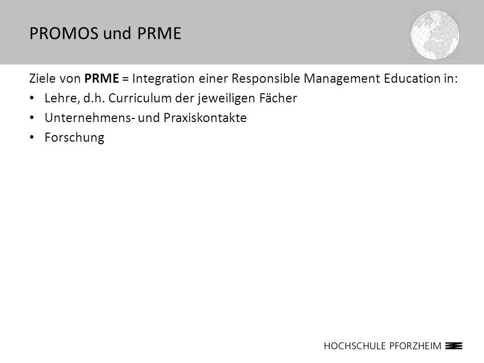 PROMOS und PRMEZiele von PRME = Integration einer Responsible Management Education in: Lehre, d.h. Curriculum der jeweiligen Fächer.