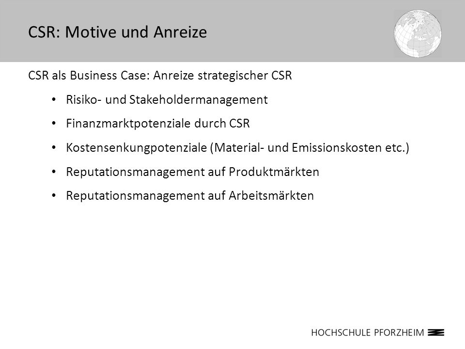 CSR: Motive und Anreize