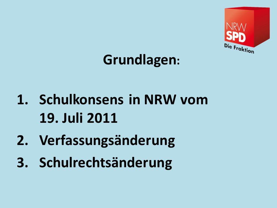 Grundlagen: Schulkonsens in NRW vom 19. Juli 2011 Verfassungsänderung Schulrechtsänderung
