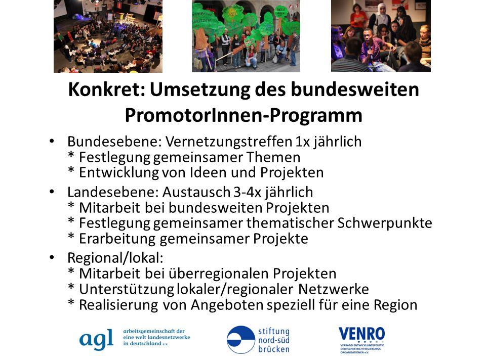Konkret: Umsetzung des bundesweiten PromotorInnen-Programm