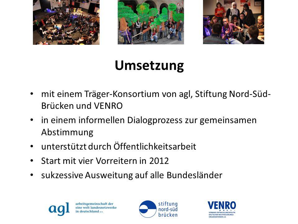 Umsetzung mit einem Träger-Konsortium von agl, Stiftung Nord-Süd-Brücken und VENRO. in einem informellen Dialogprozess zur gemeinsamen Abstimmung.