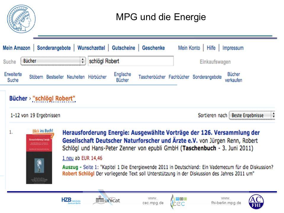 MPG und die Energie MPG ist eine Organisation der Grundlagenforschung (Energie ). Aktiv in Kerfusion und biologischen Aspekten.