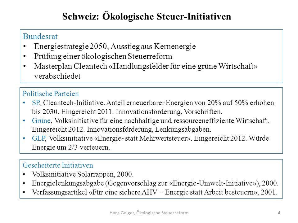 Hans Geiger, Ökologische Steuerreform