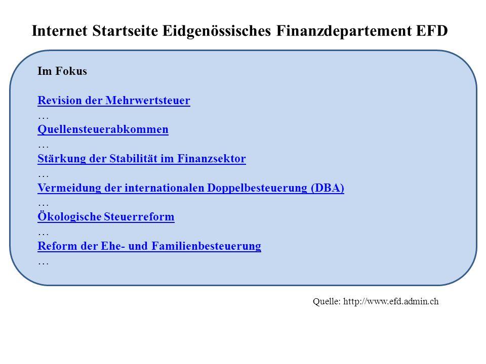 Internet Startseite Eidgenössisches Finanzdepartement EFD