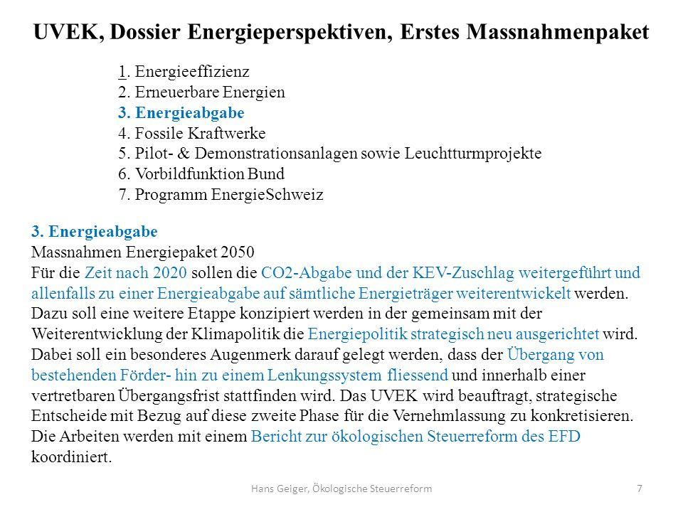 UVEK, Dossier Energieperspektiven, Erstes Massnahmenpaket