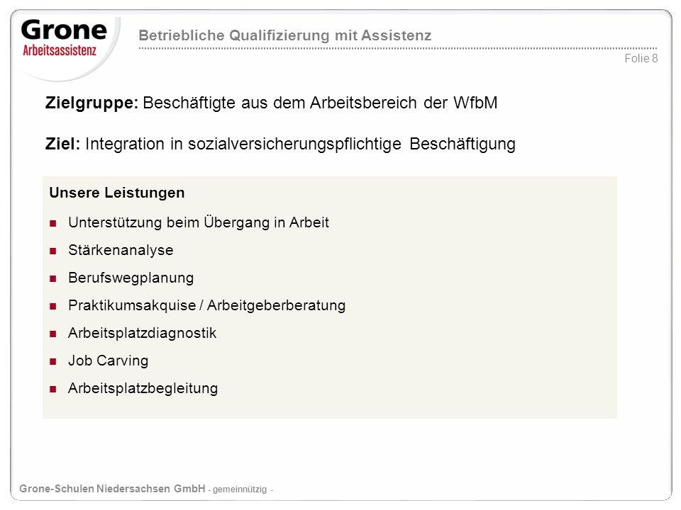 Betriebliche Qualifizierung mit Assistenz