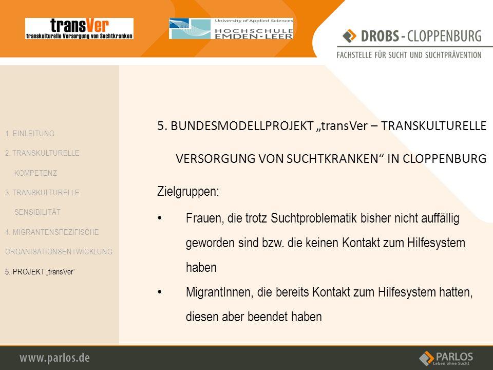 "5. BUNDESMODELLPROJEKT ""transVer – TRANSKULTURELLE VERSORGUNG VON SUCHTKRANKEN IN CLOPPENBURG"