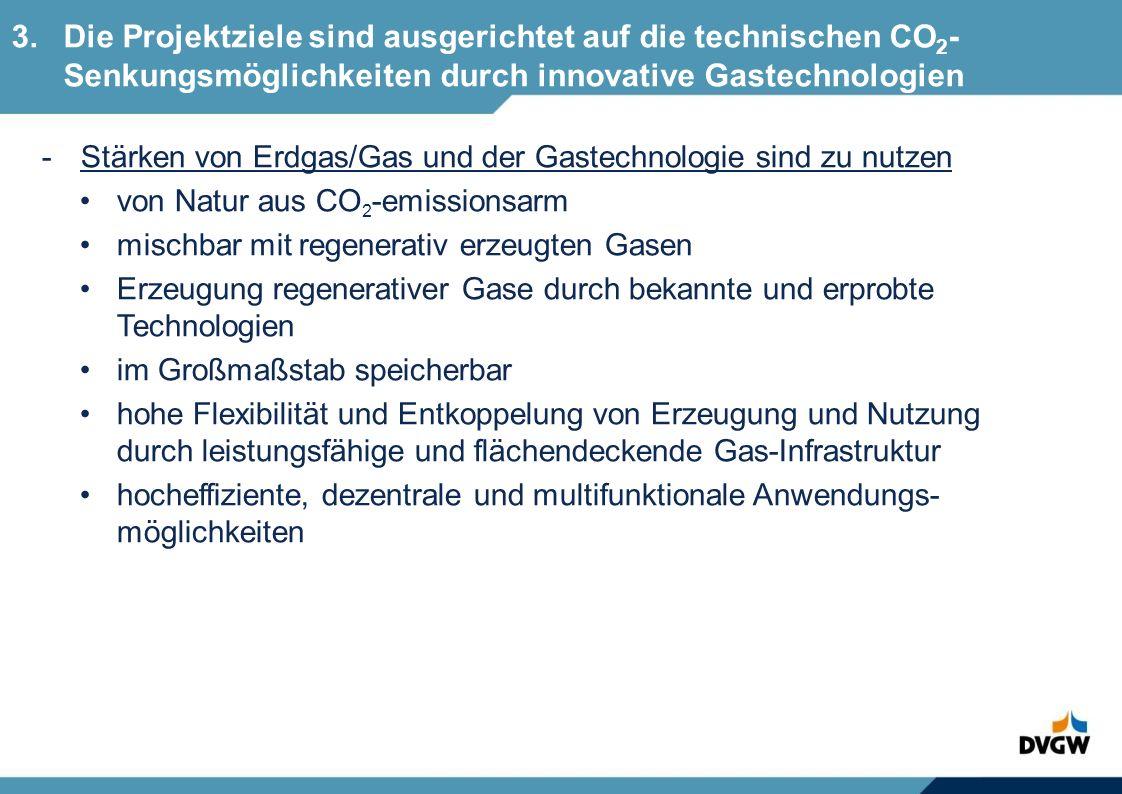 3. Die Projektziele sind ausgerichtet auf die technischen CO2-