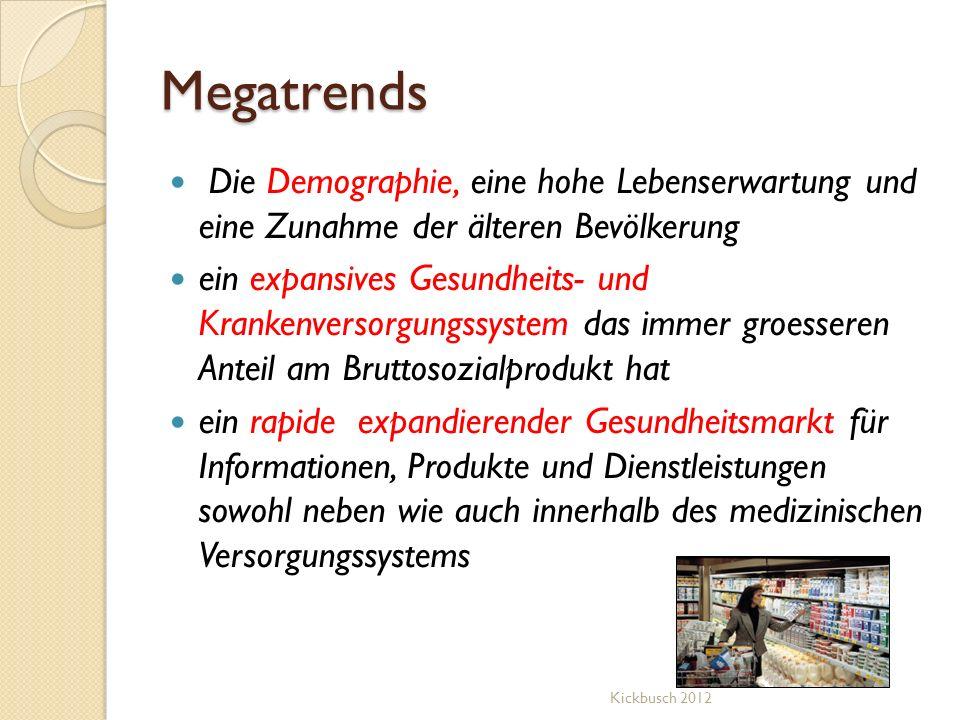 Megatrends Die Demographie, eine hohe Lebenserwartung und eine Zunahme der älteren Bevölkerung.