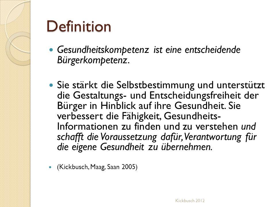 Definition Gesundheitskompetenz ist eine entscheidende Bürgerkompetenz.