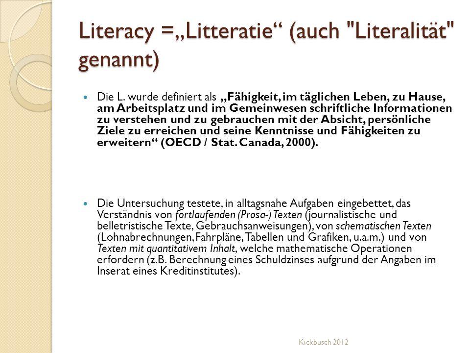"""Literacy =""""Litteratie (auch Literalität genannt)"""