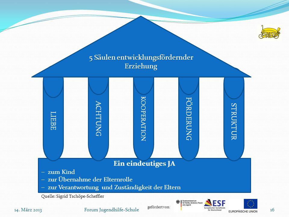 5 Säulen entwicklungsfördernder Erziehung
