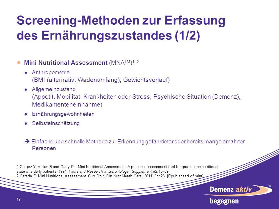 Screening-Methoden zur Erfassung des Ernährungszustandes (1/2)