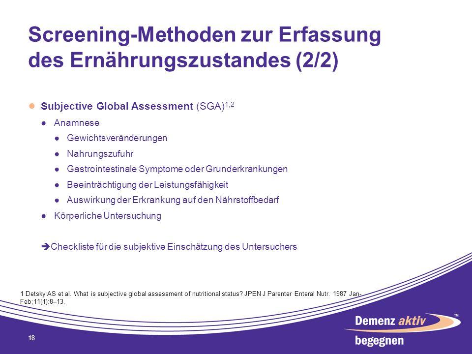 Screening-Methoden zur Erfassung des Ernährungszustandes (2/2)