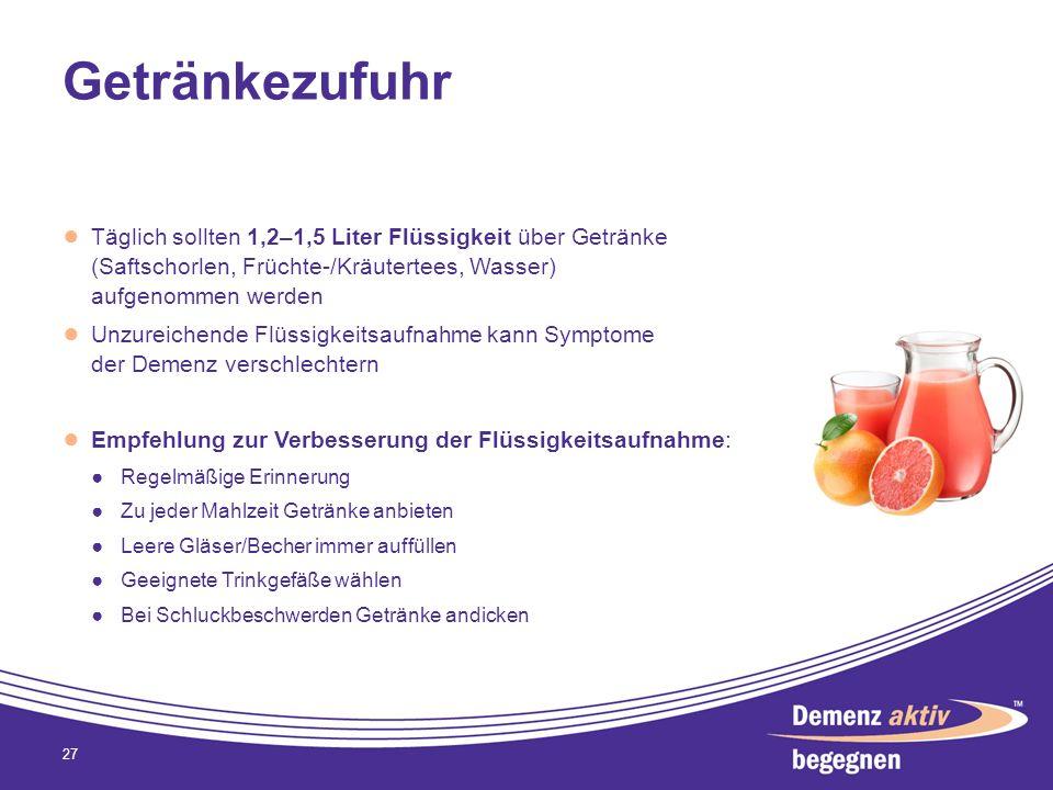 Getränkezufuhr Täglich sollten 1,2–1,5 Liter Flüssigkeit über Getränke (Saftschorlen, Früchte-/Kräutertees, Wasser) aufgenommen werden.