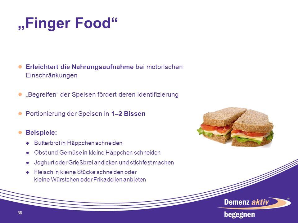 """""""Finger Food Erleichtert die Nahrungsaufnahme bei motorischen Einschränkungen. """"Begreifen der Speisen fördert deren Identifizierung."""