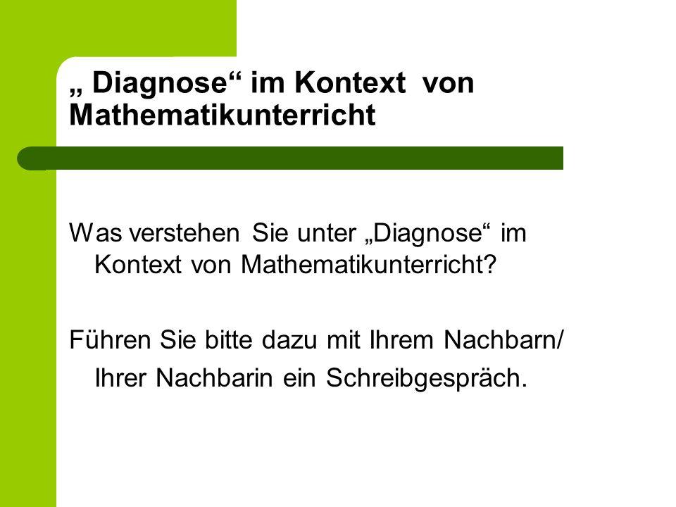 """"""" Diagnose im Kontext von Mathematikunterricht"""