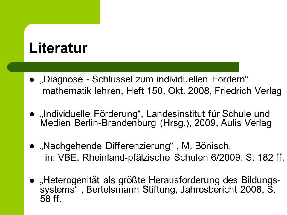 """Literatur """"Diagnose - Schlüssel zum individuellen Fördern"""
