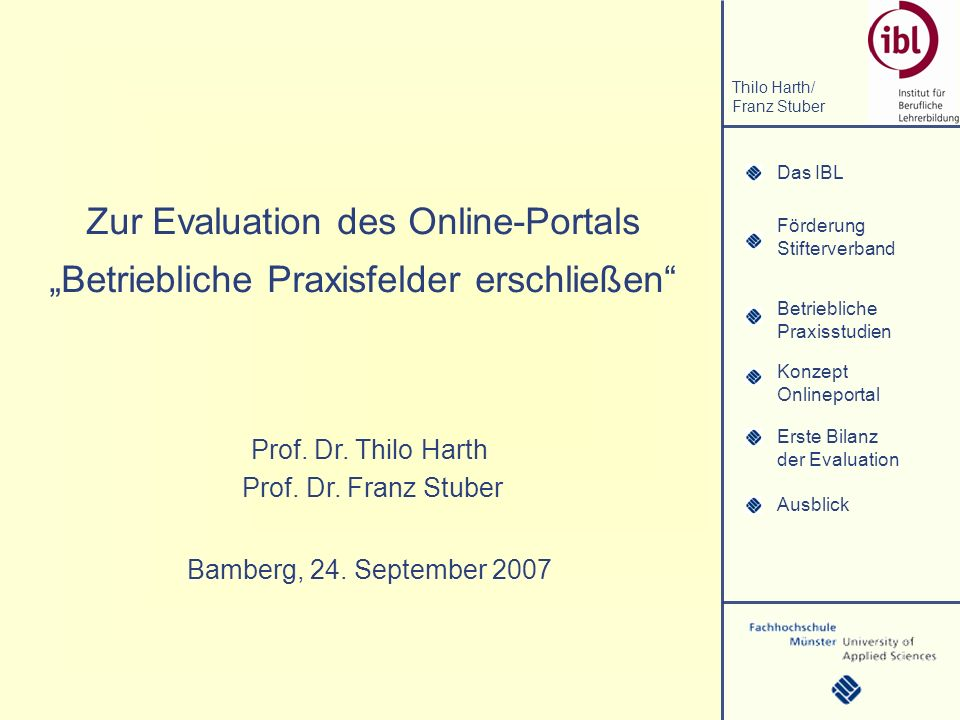 """Zur Evaluation des Online-Portals """"Betriebliche Praxisfelder erschließen"""