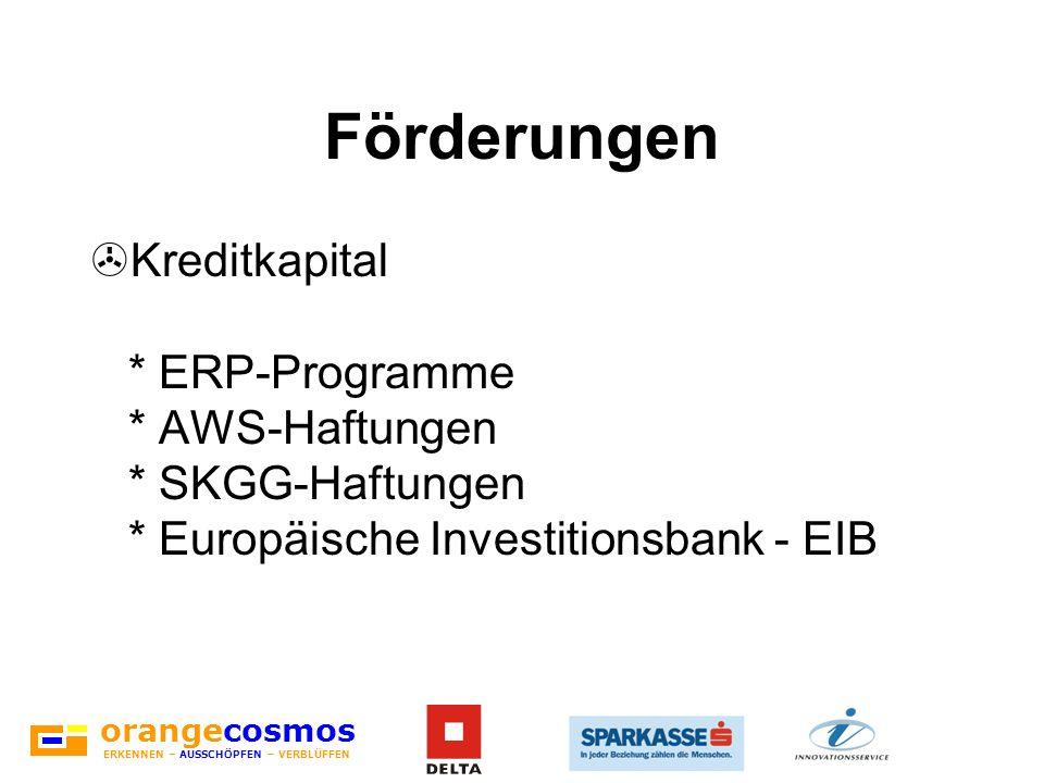 FörderungenKreditkapital * ERP-Programme * AWS-Haftungen * SKGG-Haftungen * Europäische Investitionsbank - EIB.