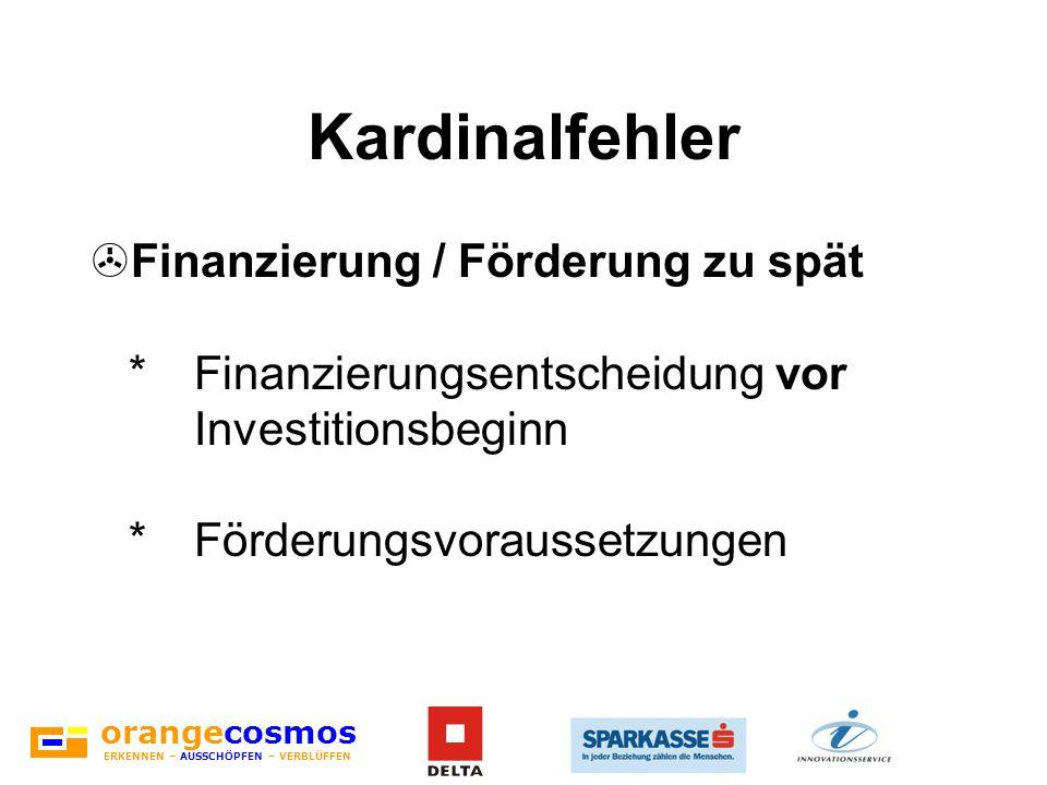 Kardinalfehler Finanzierung / Förderung zu spät * Finanzierungsentscheidung vor Investitionsbeginn * Förderungsvoraussetzungen.