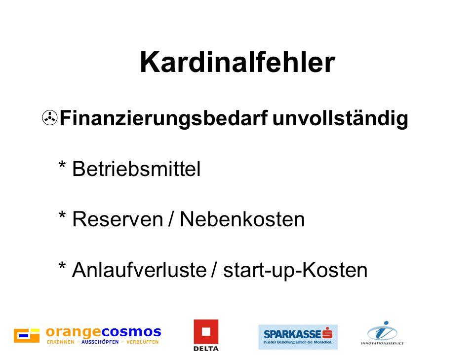 Kardinalfehler Finanzierungsbedarf unvollständig * Betriebsmittel * Reserven / Nebenkosten * Anlaufverluste / start-up-Kosten.