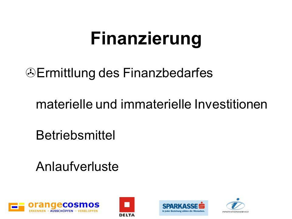 Finanzierung Ermittlung des Finanzbedarfes materielle und immaterielle Investitionen Betriebsmittel Anlaufverluste.