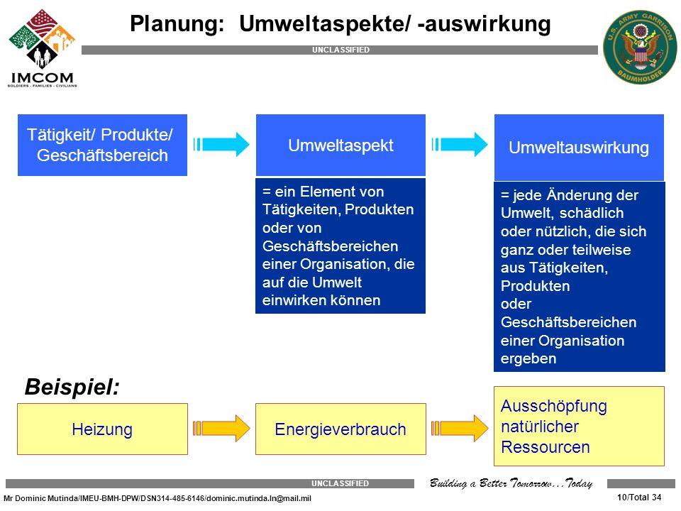 Planung: Umweltaspekte/ -auswirkung