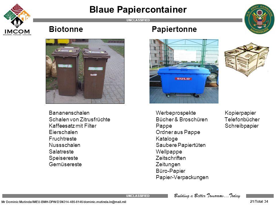 Blaue Papiercontainer
