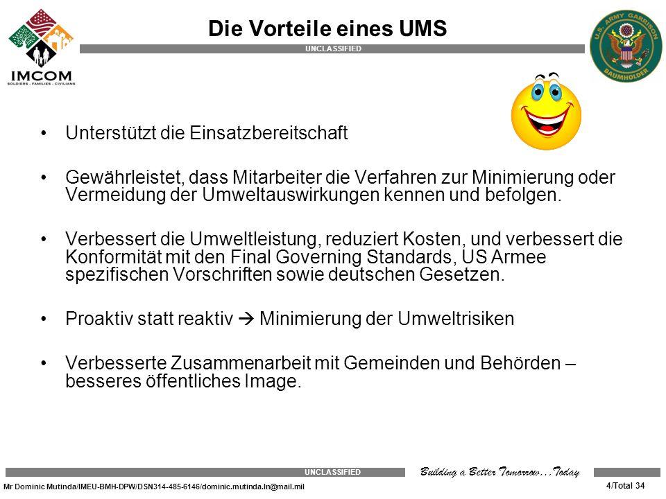 Die Vorteile eines UMS Unterstützt die Einsatzbereitschaft