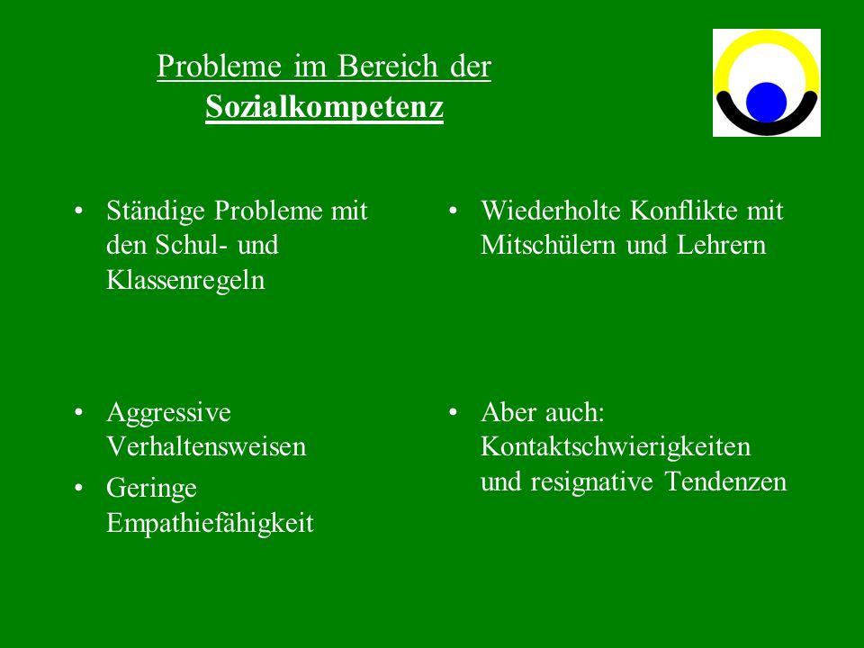 Probleme im Bereich der Sozialkompetenz