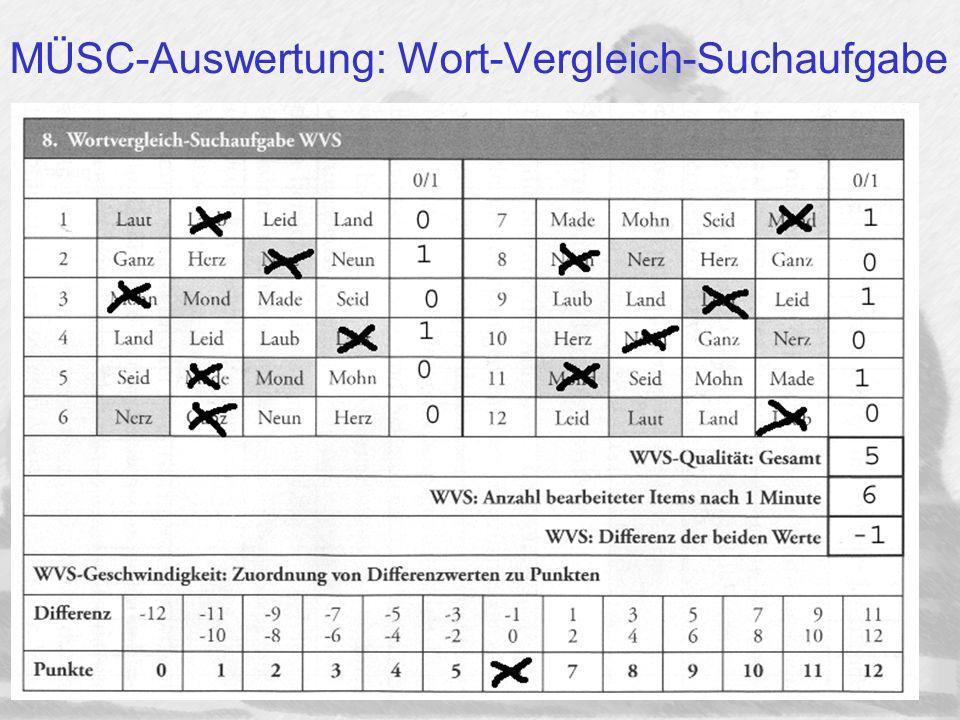 MÜSC-Auswertung: Wort-Vergleich-Suchaufgabe
