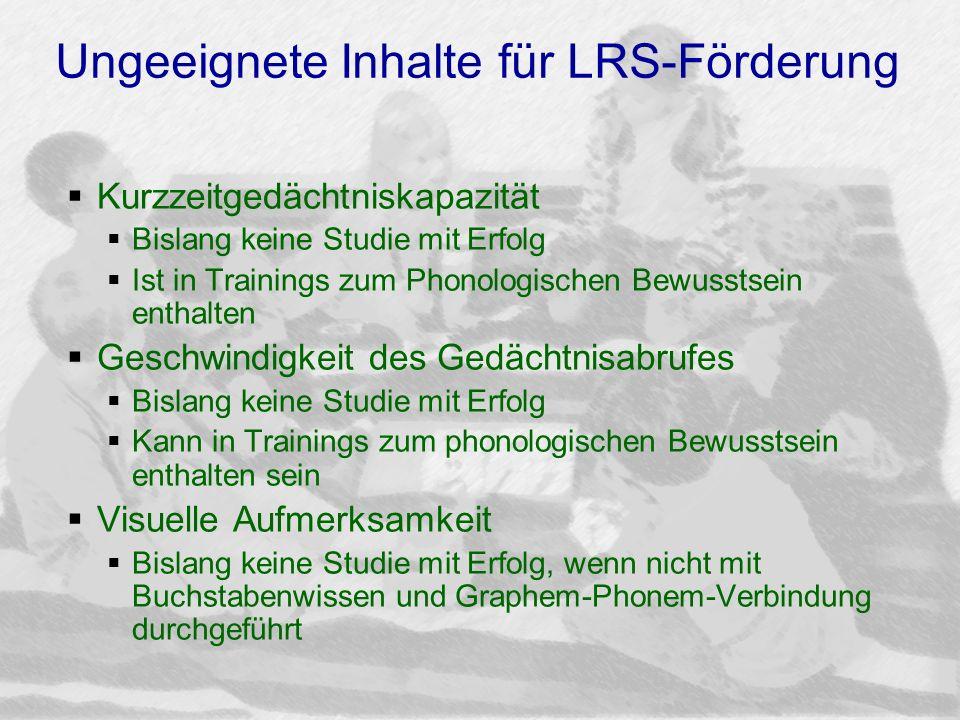 Ungeeignete Inhalte für LRS-Förderung