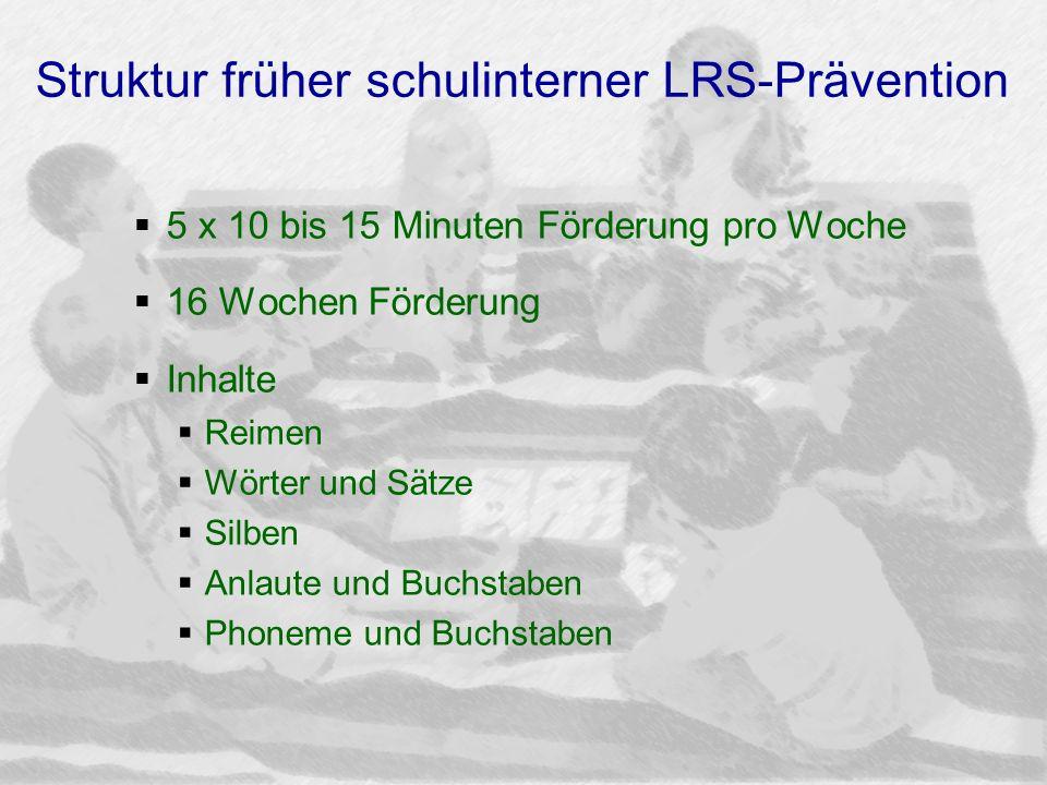 Struktur früher schulinterner LRS-Prävention