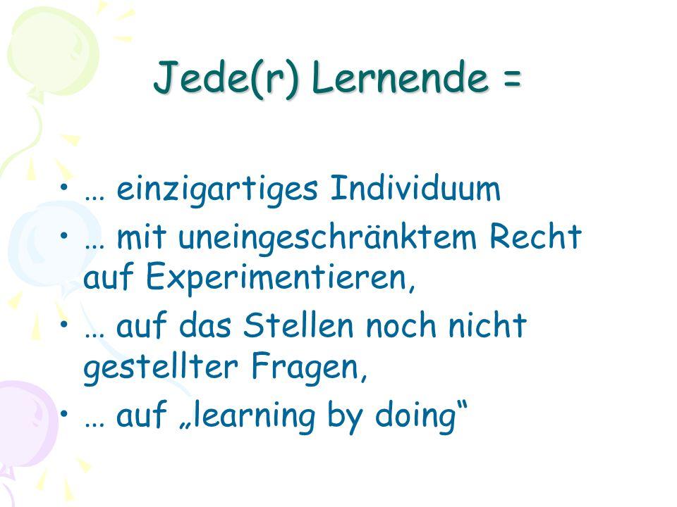 Jede(r) Lernende = … einzigartiges Individuum