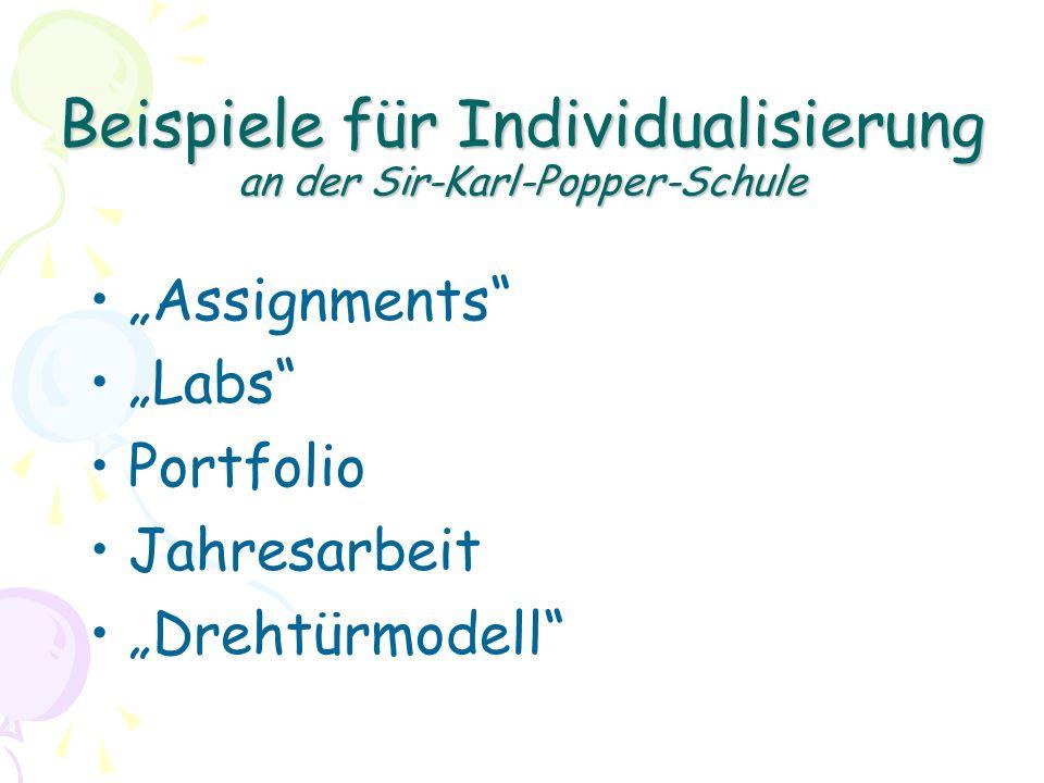 Beispiele für Individualisierung an der Sir-Karl-Popper-Schule