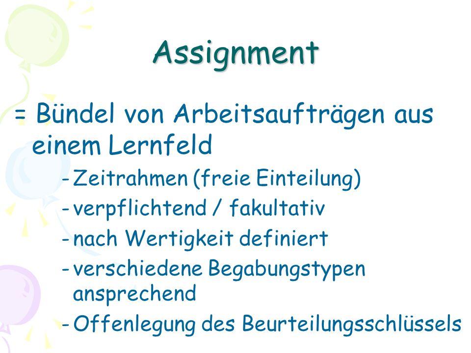 Assignment = Bündel von Arbeitsaufträgen aus einem Lernfeld