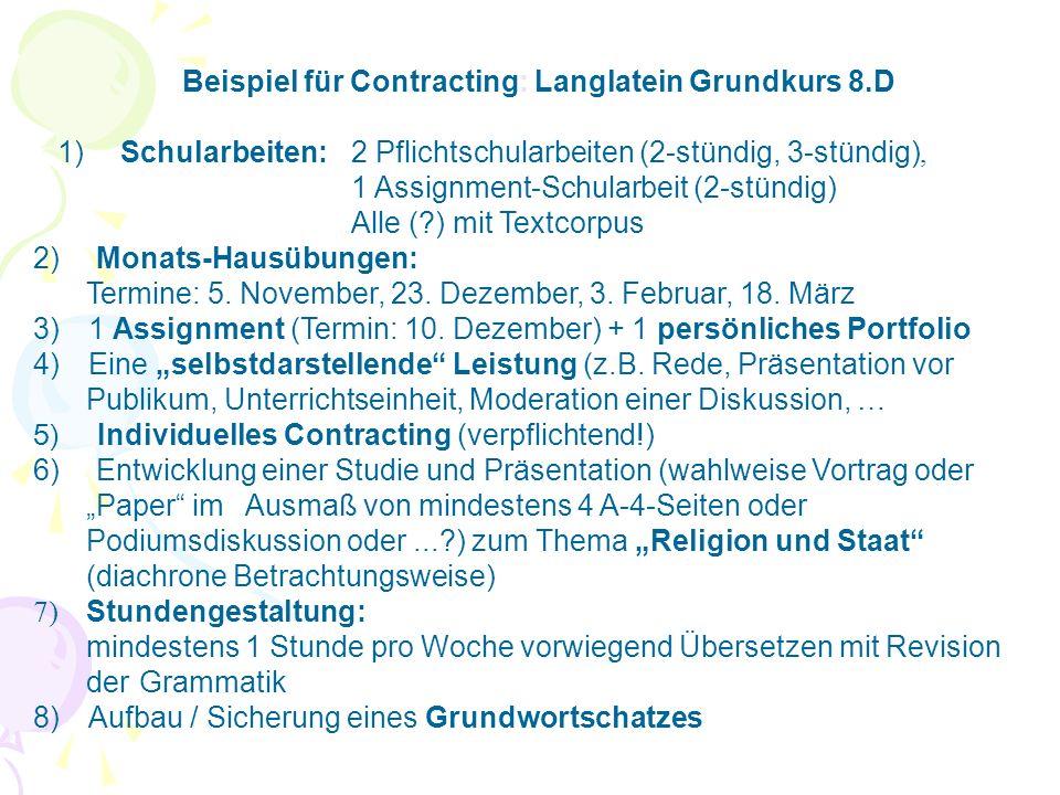 Beispiel für Contracting: Langlatein Grundkurs 8.D