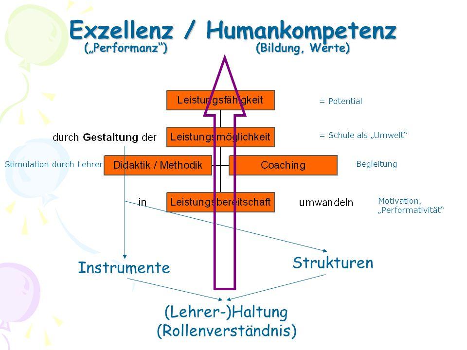 """Exzellenz / Humankompetenz (""""Performanz ) (Bildung, Werte)"""