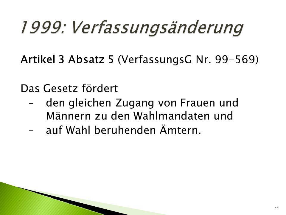 1999: Verfassungsänderung