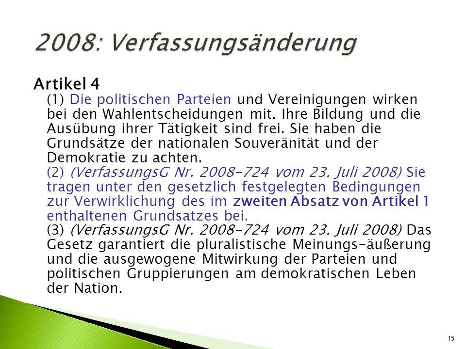 2008: Verfassungsänderung