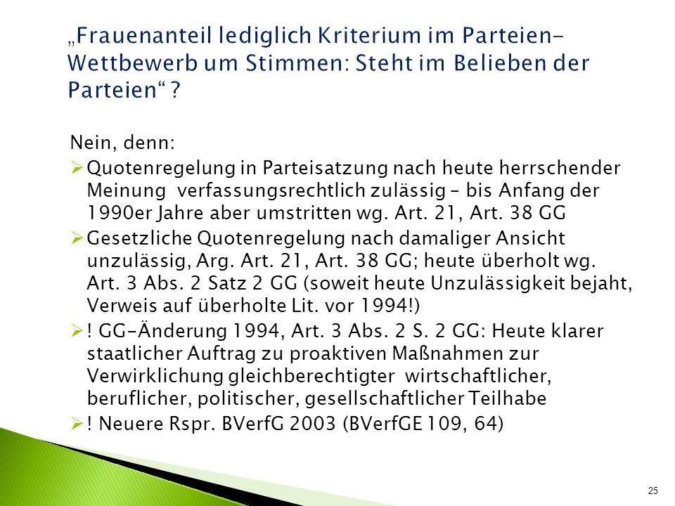 """""""Frauenanteil lediglich Kriterium im Parteien- Wettbewerb um Stimmen: Steht im Belieben der Parteien"""