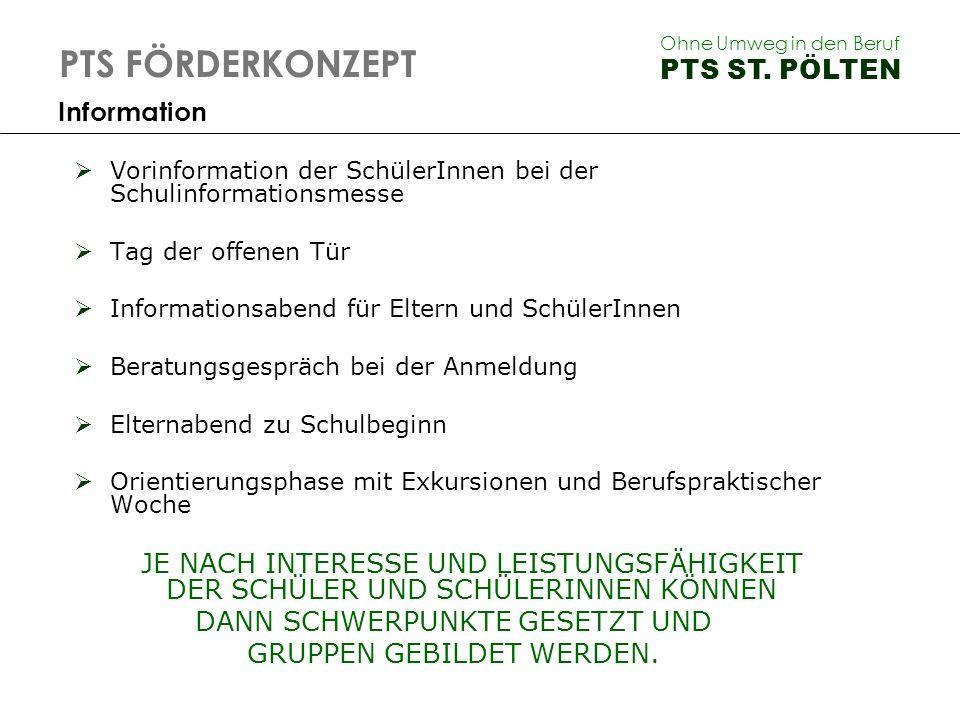 PTS FÖRDERKONZEPT PTS ST. PÖLTEN Information