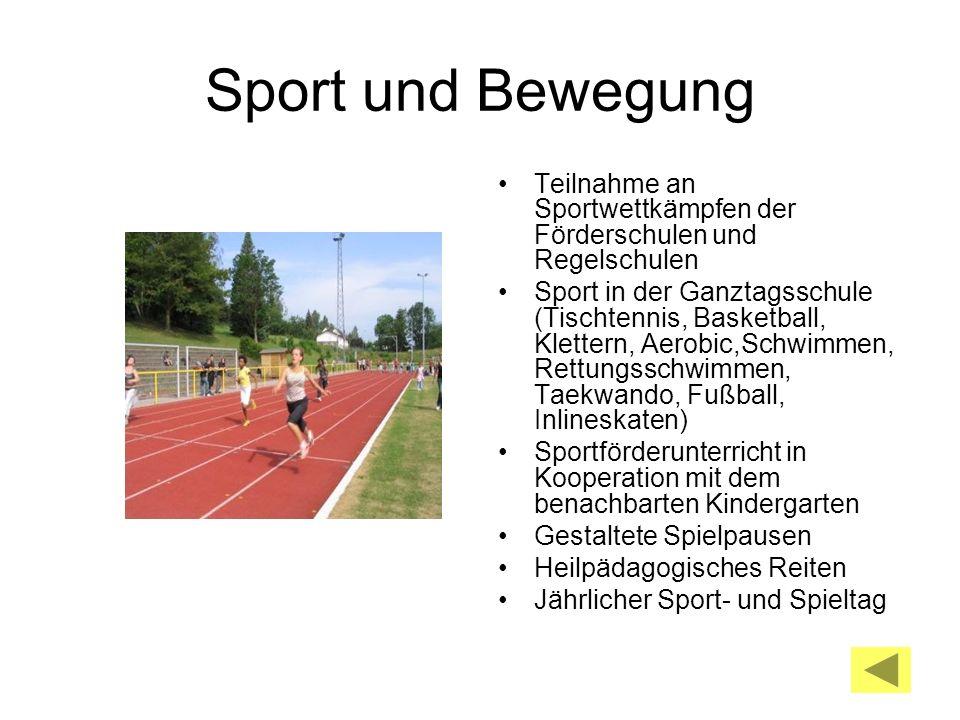 Sport und Bewegung Teilnahme an Sportwettkämpfen der Förderschulen und Regelschulen.