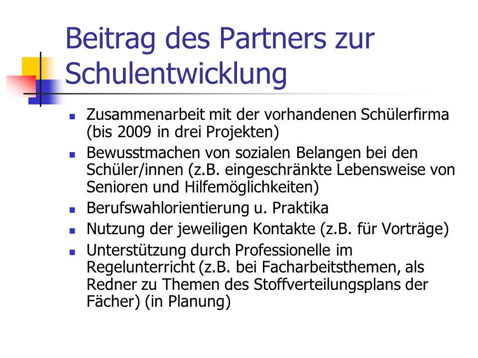 Beitrag des Partners zur Schulentwicklung