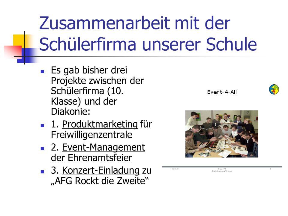 Zusammenarbeit mit der Schülerfirma unserer Schule