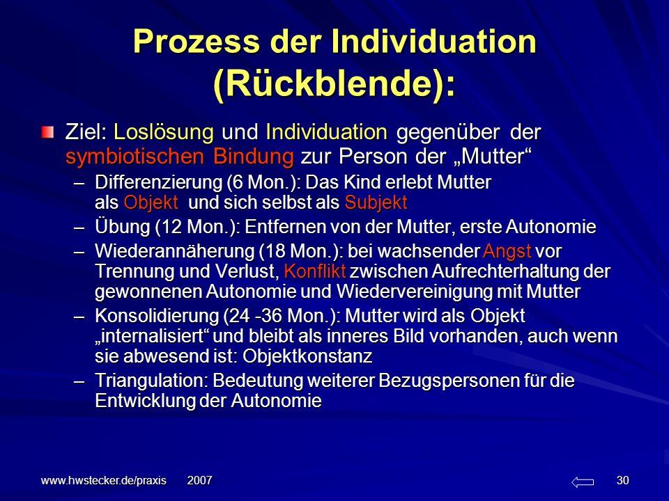 Prozess der Individuation (Rückblende):